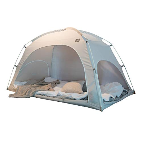 DDASUMI Fabric(Cotton Feeling) Indoor Tent for Double Bed (Grey) - Blocking Cold air, Privacy, Play Tent
