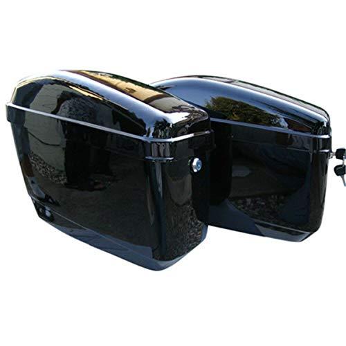 Black Hard Saddle Bags Trunk Luggage Motorcycle Cruiser w Mounting Brackets