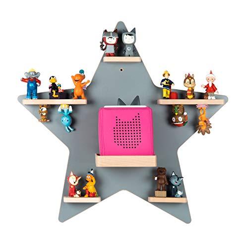 BOARTI Kinder Regal Stern in Grau - für die Toniebox und ca. 35 Tonies - zum Spielen und Sammeln