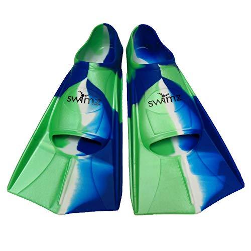 Swimz - Pinne da Nuoto in Silicone, Colore: Blu/Bianco/Verde, Blue/White/Green, UK 12.5-1 (31.5/32)