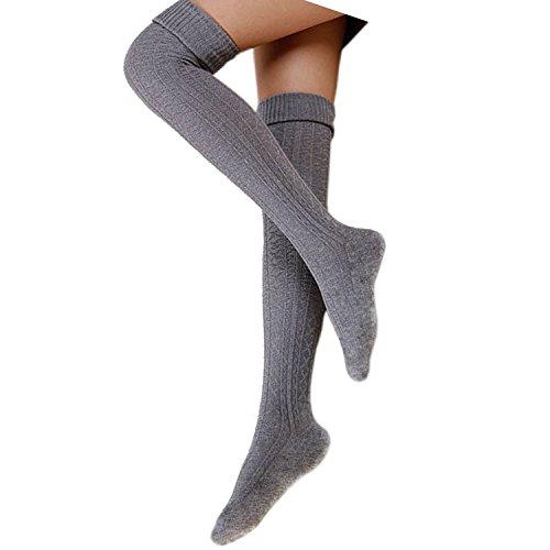 Cindeyar 1 Paar Damen Overknee Strümpfe Lange Kniestrümpfe Retro Schüler berknie Strick Socken, Hellgrau, 74 cm