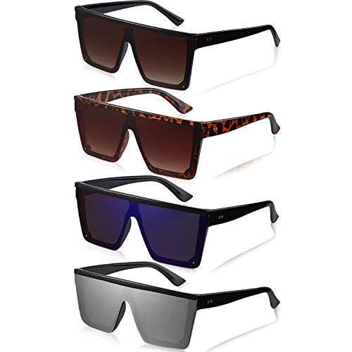 Frienda 4 Pares Gafas de Sol Planas de Gran Tamaño Gafas de Sol Cuadradas Vintage (Azul Hielo, Marrón, Plata, Marrón Degradado)
