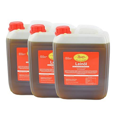 Horse-Direkt Premium Leinöl 15 L (3x5 Liter Kanister) Für Pferde, Hunde & Katzen- Leinsamenöl Kaltgepresst Zum Barfen Für Das Tier - Natürlicher Futterzusatz Zur Unterstützung