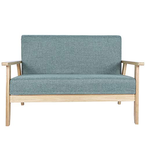 Sofá de 2 plazas con reposabrazos de madera para dormitorio, salón, habitación de invitados, 61 x 113,6 x 73,5 cm, carga máxima de 500 kg