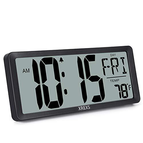 XREXS Orologio da Parete Digitale - 13,46'' Display LCD Orologio da Parete Digitale con Calendario, Sveglia, Temperatura e Timer, Allarme Forte e Chiaro, Calendario per Decorazione (Batteria Inclusa)