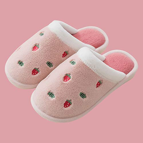 YWSZJ Zapatillas De Casa De Felpa Cálidas para Interior para Mujer, Zapatillas De Fruta A La Moda, Antideslizantes Suaves para Amantes, Zapatos De Invierno para Mujer, Toboganes para Mujer