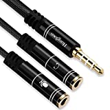 Hongloon Headphone Splitter, 3.5mm Headset Adapter (MIC + Audio) TRRS Male to Dual 3.5mm TRS Female Stereo Jack Combo Audio Cable for PS4, Xbox, Tablet, PC, Phone, Laptop and Dual-Plug Gaming Headset