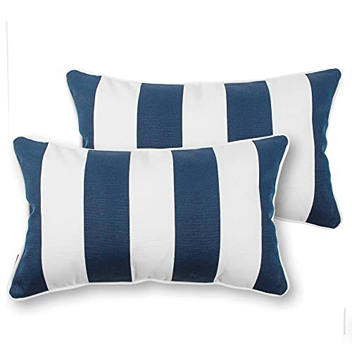 IN4 Care Outdoor Lumbar Pillows with Insert, All Weather Waterproof Throw Pillow for Patio Furniture, Set of 2, 19' x 12' - Blue White