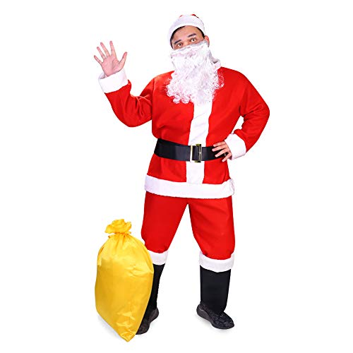 Mens Santa Claus Costume Father Christmas Suit for Men Festive Outfit with Beard Red