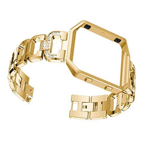ibasenice Compatible para Fitbit Blaze- Correa de Reloj de Acero Inoxidable Banda de Reloj Inteligente Correa de Reloj de Diamantes de Imitación Correa de Repuesto con Marco de Reloj