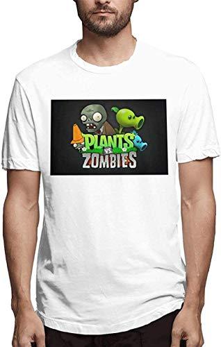 AYASS Plants-Vs.Zombies T-Shirt for Men Short-Sleeve Crew Neck Short White