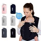 Makimaja - Écharpe de portage noir - porte-bébé de haute qualité pour nouveau-nés et bébés jusqu'à 15 kg - en coton doux - incl. sac de rangement et bavoir bébé