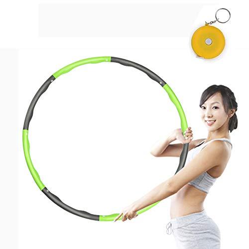 HIA Trade Fitness Hoola-Hoop zur Gewichtsreduktion, Reifen mit Schaumstoff ca 1 kg mit Mini Bandmaß, Einstellbares Gewicht 19-35 in Gewichten beschwerter Hoola-Hoop-Reifen für Fitness