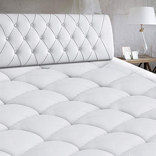 Queen Size Mattress Pad Cover Cooling Mattress Topper Cotton Pillow Top with Down Alternative Fill Deep Pocket Queen Size