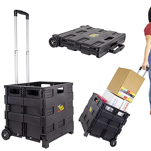 dbest products Quik Cart Topless without Lid Travel Portable Mobile Storage Collapsible Handcart Rolling Utility Heavy Duty, Black