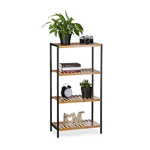 Relaxdays, Natur Regal Bambus, universales Standregal, Bad und Küche, 4 Ablagen, Metall-Rahmen, HxBxT: 97 x 50,5 x 27 cm, Standard