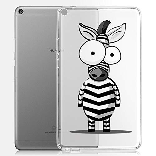 ZhuoFan Coque Huawei Mediapad T3 8 Housse de Protection Étui Fin en Silicone Transparente avec Motif Antichoc Flexible TPU Cover Case pour Tablette Huawei Mediapad T3 8.0 Poucess, Zèbre