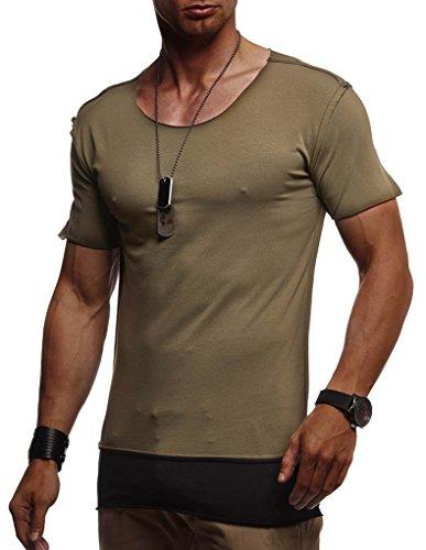 Leif Nelson Herren Sommer T-Shirt Rundhals-Ausschnitt Slim Fit Baumwolle-Anteil Moderner Männer T-Shirt Crew Neck Hoodie-Sweatshirt Kurzarm lang LN1465 Khaki X-Large