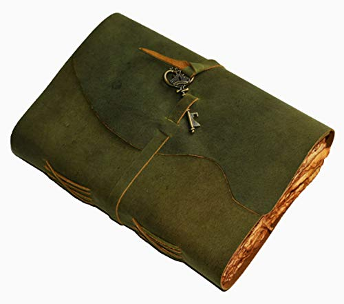 Leather Journal - Vintage Leather bound Journal – Handmade Vintage Deckle Edge Paper – Vintage Key Closure - Book of Shadows -Leather Sketchbook (Green, 8 inches X 6 inches)
