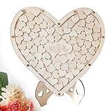 LANCHEN - Letrero de Firma de Libro de Invitados de Boda con corazón único con 75 Corazones de Madera, Marco Colgante, decoración rústica
