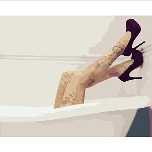 Schilderen op nummer, badkuip Beauty Legs figuur doe-het-zelf schilderen, op nummer, muurkunst, schilderij acrylschilderij voor interieur, 60 x 75 cm, 40 x 50 cm