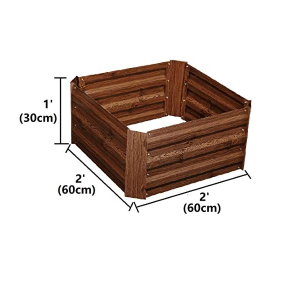 Leisurelife Metal Raised Garden Bed Planter Box Kits for Vegetables Outdoor, Steel, 2x2 ft, Brown 4 【Raised Garden Bed Size】:8x4 ft, height 1ft. No bottom 【Material】: The planter box made of color steel, waterproof and anti-rust, can be used for 10 years. 【Open-bottom】: Integrating with nature, there is no trouble with standing water.