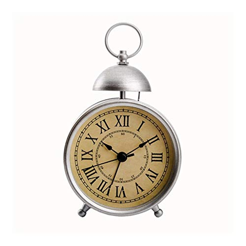 American wekker Kids Student Bedside Silent tafelklok huis Slaapkamer Desktop Metal Quartz Clock Living Room Office Decoration Klok Stil Ontwerp (Color : Silver, Size : 10cm*14cm)