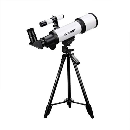 Svbony SV501 Telescopio Adultos Principiantes 70/420 Telescopio Astronomico Profesional Adultos Principiantes con Ajustable Trípode Telescopio para Principiantes Adultos (70mm)