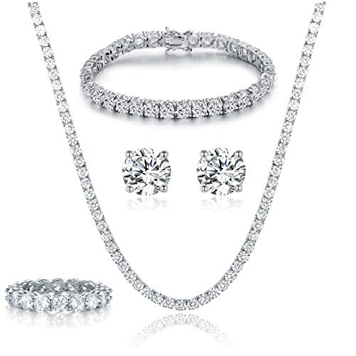 18K White Gold Plated Tennis Necklace/Bracelet/Earrings/Band Ring Sets Hypoallergenic Jewelry Pack of 4 white