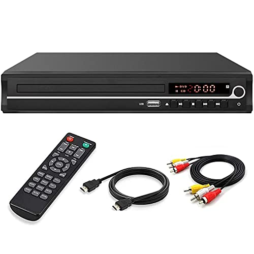 DVD Player,VATI HDMI DVD Player for Smart TV Support 1080P Full HD with HDMI Cable Remote Control USB Input Region Free Home DVD Players