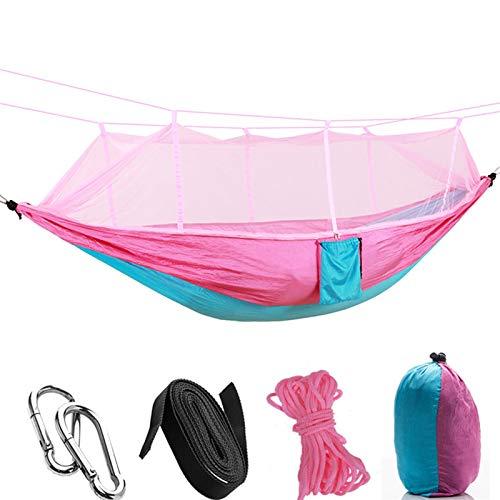 Camping/Jardín Hamaca con mosquitero Muebles de Exterior 1-2 Persona Portátil Colgante Fuerza Solución de paracaídas Swey Swing (Color : Pink Blue)