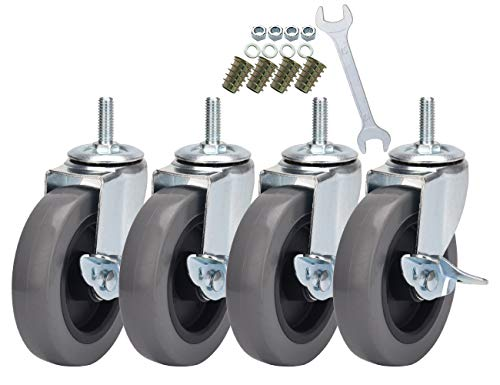 DICASAL Stem Casters with Imperial 3/8-16x25mm Stem Thread Heavy Duty and Highly-Elastic TPR Wheels Mute Castors with Side Brakes Pack of 4 (4 Inch)