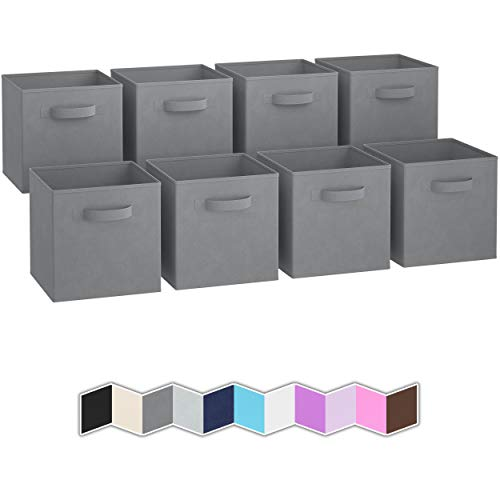 Royexe Storage Bins - Set of 8 - Storage Cubes | Foldable Fabric Cube Baskets Features Dual Handles. Cube Storage Bins. Closet Shelf Organizer | Collapsible Nursery Drawer Organizers (Grey)