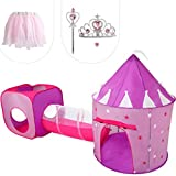 Gift for Girls, Princess Tent with Tunnel, Kids Castle Playhouse & Princess Dress up Pop Up Play Tent Set, Toddlers Toy Birthday Gift Present for Age 2 3 4 5 6 7 Years, Glow in The Dark Stars, Indoor