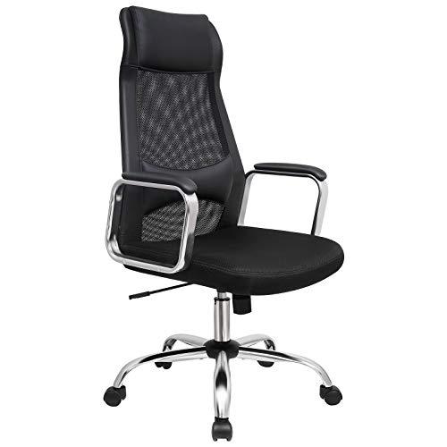 SONGMICS Bürostuhl, Schreibtischstuhl mit Netzbespannung, ergonomischer Computerstuhl, atmungsaktive Rückenlehne, mit Kopf- und Lendenstütze, höhenverstellbar, bis 140 kg belastbar, schwarz OBN33BK