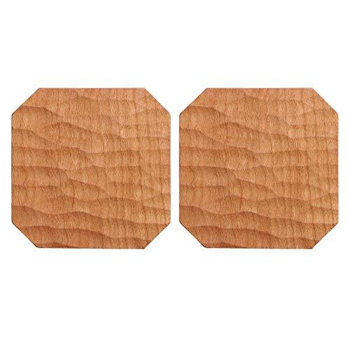 Posavasos para Bebidas Posavasos de madera de cerezo natural Posavas octagonales tallado a mano tallado a mano Pad de aislamiento anti-Scald para la decoración de la oficina y de la oficina rústicas