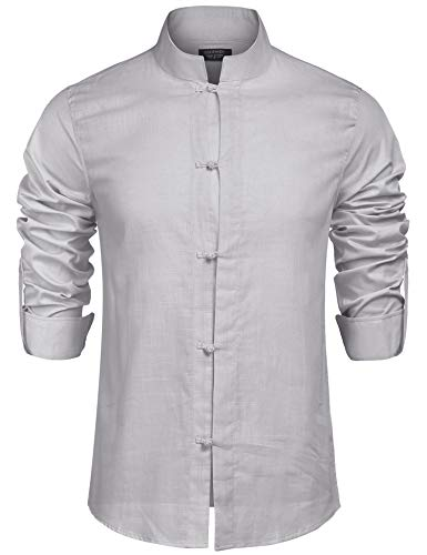 COOFANDY Herren Hemd Langarmshirt Leinenshirt Regular Fit Freizeithemd Leinenhemd für Männer Grau M