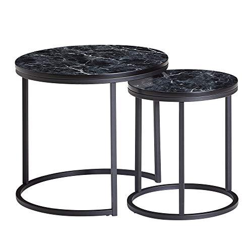 FineBuy Design Beistelltisch 2er Set Schwarz Marmor Optik Rund | Couchtisch 2-teilig Tischgestell Metall | Kleine Wohnzimmertische | Moderne Satztische