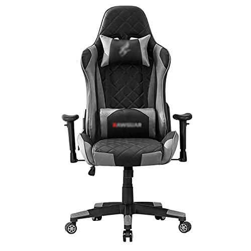 HXJU Gaming-Stuhl, E-Sports Racing-Stil-Stuhl-Vorsitzender ergonomischer High-Back-Bürostuhl mit PU-Leder, Kopfstütze und Lendenbaumunterstützung Grey