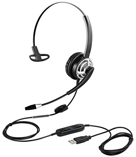 USB Headset with Microphone Noise Cancelling and Volume Controls, Computer PC Headset with Voice Recognition Mic for Dragon Teams Zoom Skype Softphones Conference Calls Online Course Gaming and More