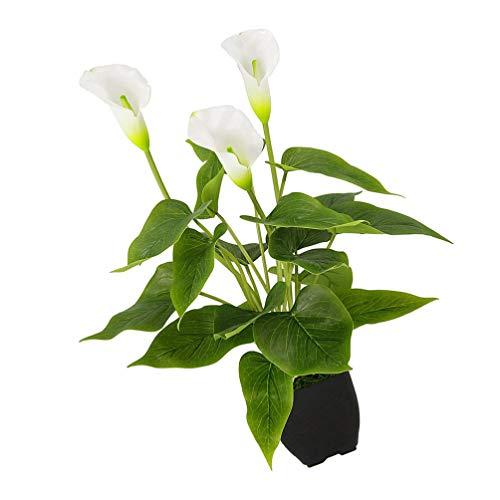 FAVOMOTO Planta Artificial en Maceta Falso Bonsai Planta de Lirio de Cala Falso Realista Flor Verde Planta Casa Planta Mesa Centro de Mesa para La Decoración de La Estantería de La Oficina