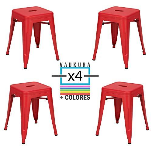 Vaukura Taburete Bajo Tolix (Pack 4) - Taburete Industrial Metálico Mate (Rojo)