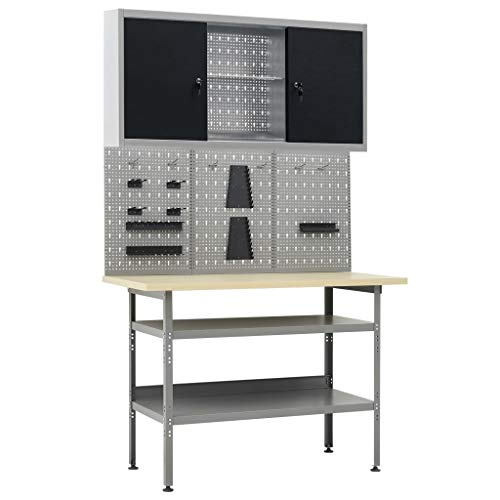 Unfade Memory Hardware Workbench Table with 2 Shelves, Heavy-Duty Steel Hardwood Workstation with 3 Wall Panels and 1 Cabinet