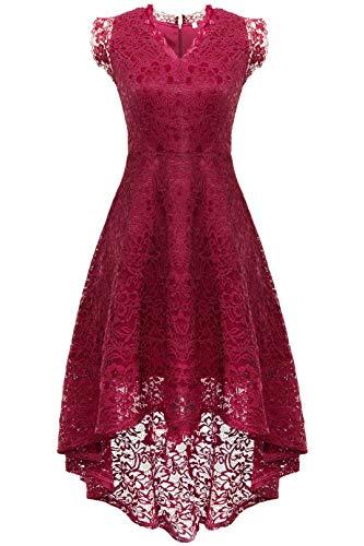 Coucoland Elegant Hi-Lo jaren '50 Rockabilly jurk cocktailjurk met kanten mouwen bruiloft bruidsmeisjes A-lijn avondjurk