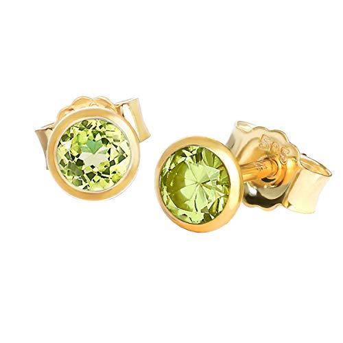 NKlaus Paar Ohrstecker echt Peridot Gelbgold 585 14 Karat Gold 4,0mm kleine Ohrringe 7941