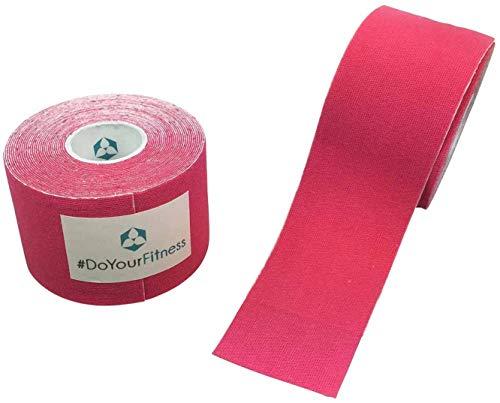 #DoYourFitness x World Fitness WFX 1x Kinesiologie Tape [5m x 5cm LxB] - Lange Tragezeit - elastische Bandage für Sport - Selbsklebend, 100% gewebte Baumwolle, Wasserresistent, Latexfrei - Pink