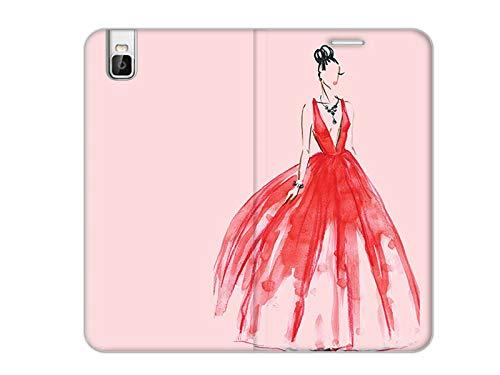 etuo Handyhülle für Huawei Shotx - Hülle, Handy Flip Case Flex Book Fantastic - Rotes Kleid