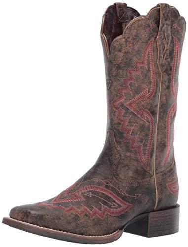 Ariat Women's Women's Round Up Santa Fe Western Boot, Distressed Truffle, 11 B US