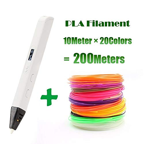 ZHQHYQHHX 3D Professional Printing 3D Pen met OLED-scherm Generation 3D-tekening Pen for Doodling Art Craft maken en onderwijs 3D Printer ZHQEUR (Color : White Add 300Meters, Size : Free)