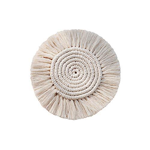 voloki 4 Stück handgemachte Makramee Untersetzer Set, Boho Reine handgemachte Baumwolle Braid Makramee Cup Mats Table Decor